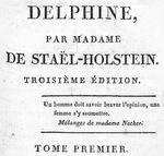 Delphine, by Mme de Staël