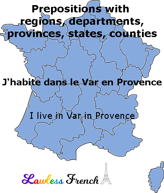 French prepositions with departments and regions