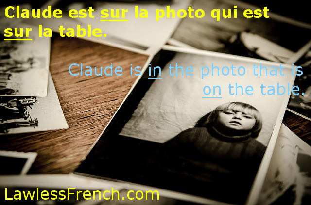 French preposition sur