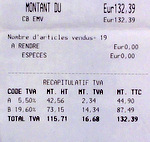 French receipt showing TTC