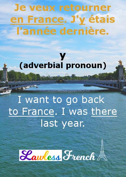 French adverbial pronoun y